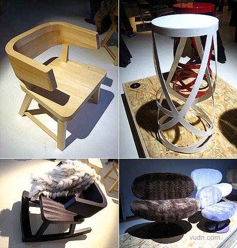 """neo-rural""实木椅子,灵感来源于荷兰乡村最为普通的木椅。solid wood chairs inspired by common rural Dutch designs.Island coffee table 岛屿咖啡桌 设计:Nendo's Ribbon stools 丝带凳子 设计:Nendo's......"