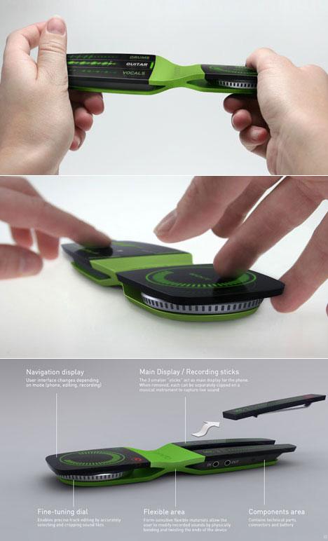 这款名为Ondo的概念手机配有3个分体式的部件,这三个部件组合到一起就是手机的触摸屏,但是它们都可以独立使用,每个部件都带有自己的OLED屏幕、闪存、麦克风和电源,可以当做录音笔来使用。而手机的主体则采用了一方一圆的