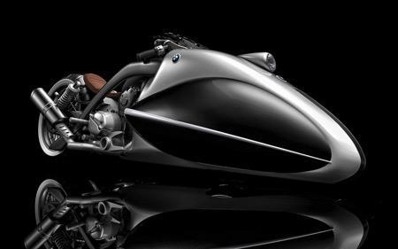 这辆由设计师Erdem构思的BMW概念摩托车专为盐湖地直线加速赛而设计,被包裹严实的大前轮与暴露在外的引擎和各种机械部件形成鲜明对比,银白色的车体同棕色座椅皮具彰显出BMW标志性的配色与格调,如果此车真的存在,一定会被