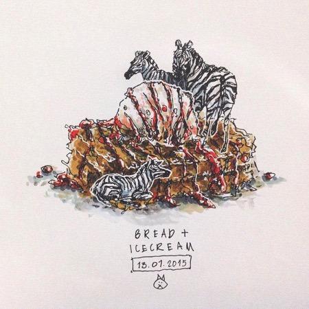 """""""唯有美食和爱不可辜负"""",一位马来西亚女生把对小动物的爱注入到美食中,用可爱柔软的笔触呈现在插画里。正在绘制复活节彩蛋的小兔子、觊觎热狗的小狗崽、喜欢吃生鱼片的棕熊……小动物和美食相处的画面是那么地"""