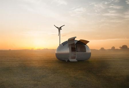 Ecocapsule是一座14.6 x 7.4 x 8.4 尺的胶囊状移动小屋,配备了 600W 的太阳能板,与一个 750W 的风力发电机,其鹅蛋式外形更能让滴在表面的雨水顺势流到屋底的雨水收集设备中,然后通过过滤器供居住者使用。而屋内则设有折