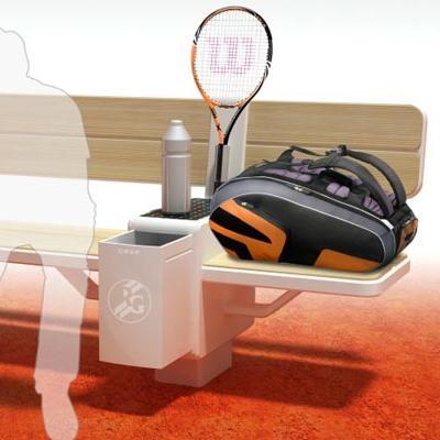 Geoffrey Graven专为网球运动员设计的休息长椅,一个柔软的球拍收纳卡口,一个使用太阳能作为能源的冷藏柜,可以储存水果、饮料,看起来,网球运动员会更加舒服了。